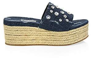 Miu Miu Women's Summer Plexi Jeweled Denim Espadrille Slides Sandals
