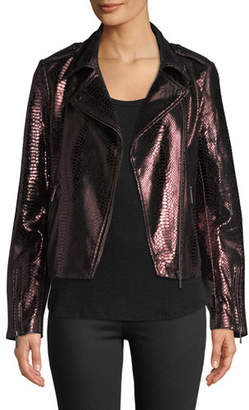 Neiman Marcus Leather Collection Metallic Snake-Embossed Lamb Leather Moto Jacket