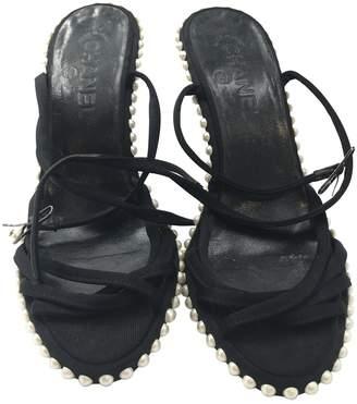 Chanel Black Cloth Sandals