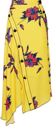 Proenza Schouler - Asymmetric Floral-print Silk-crepe Wrap Skirt - Yellow $1,000 thestylecure.com