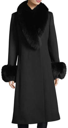 Sofia Cashmere Fur Shawl & Cuff Long Top Coat