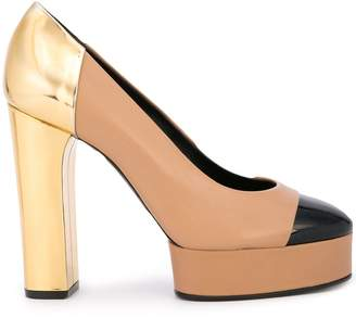 Casadei metallic heel colour block pump