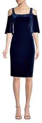 Alex Evenings Embellished Cold-Shoulder Velvet Dress