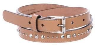 Gucci Leather Studded Skinny Belt