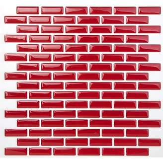 TicTacTiles 9.5 x 10 Peel & Stick Mosaic Tile in Brick Rose Red