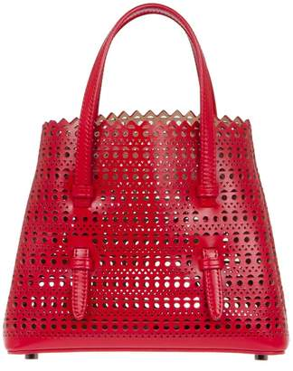 Alaia Mini Open Circle Weave Tote - Red