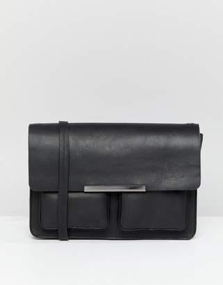 Asos Design DESIGN Leather Structured Pocket Cross Body Bag