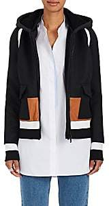 Tim Coppens WOMEN'S LEATHER-TRIMMED WOOL BOMBER COAT-BLACK SIZE M