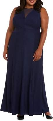 Morgan & Co. Ribbed Metallic Gown