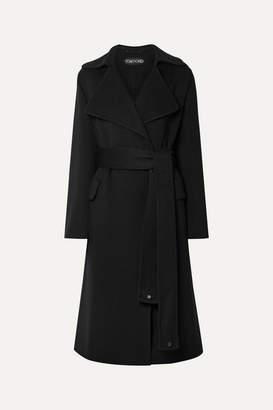 Tom Ford Belted Leather-trimmed Cashmere Coat - Black