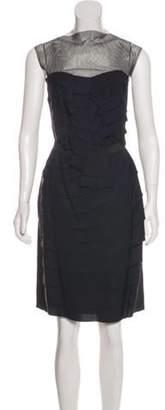 Lanvin Pleated Sheath Dress Navy Pleated Sheath Dress