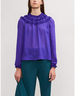 Maje Liaser smock-detail chiffon blouse