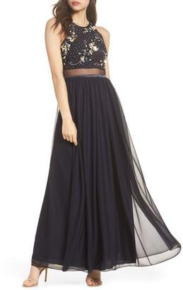 Sequin Hearts Embellished Mock Two-Piece Gown