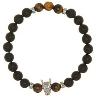 Dragon Optical Jean Claude Matte Black Agate & Tiger Eye Charm Stretch Bracelet