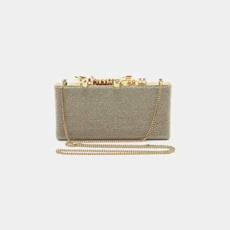 Jimmy Choo Celeste Small Glitter-Fabric Logo Clasp Clutch