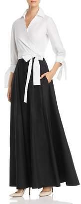 Paule Ka Two-Tone Maxi Wrap Dress