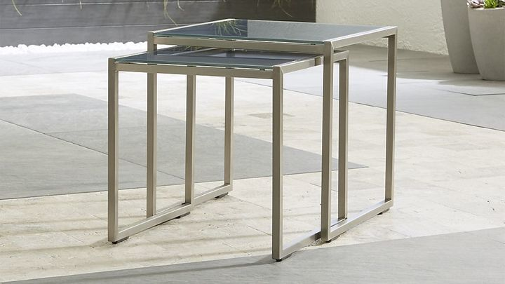 Crate & BarrelDune Nesting Tables with Painted Charcoal Glass Set of Two