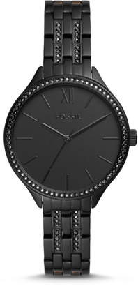 Fossil Suitor Three-Hand Black Stainless Steel Watch