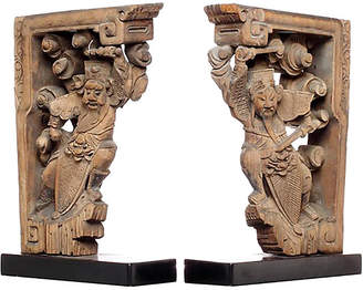 One Kings Lane Vintage Hand-Carved Chinese Corbels - Set of 2 - FEA Home
