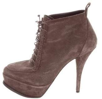 Elizabeth and James Suede Lace-Tie Booties