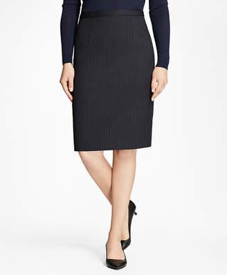 Brooks Brothers Pinstripe Stretch-Wool Pencil Skirt