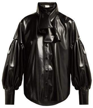 Hillier Bartley - Latex Balloon Sleeve Blouse - Womens - Black