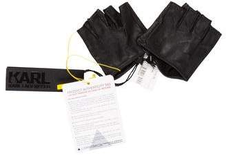 Karl Lagerfeld Leather Fingerless Gloves w/ Tags