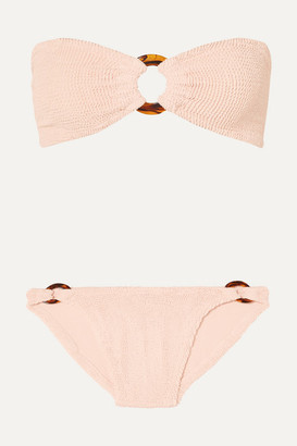 Hunza G Gloria Embellished Seersucker Bandeau Bikini - Blush