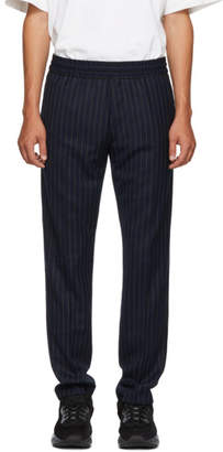 Acne Studios Navy and Green Striped Ryder Trousers