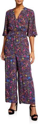 philosophy V-neck Short-Sleeve Smocked-Waist Jumpsuit