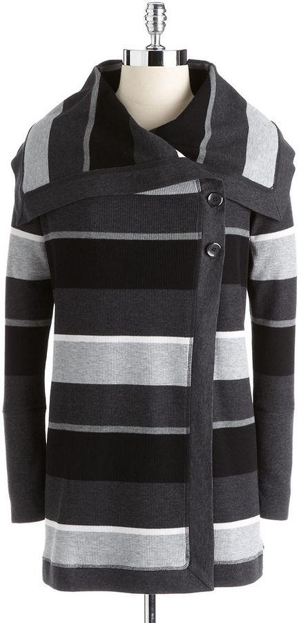 Calvin Klein Envelope Collar Striped Thermal Sweater