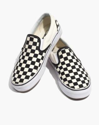 Madewell Vans Unisex Classic Slip-On Sneakers in Black Checkerboard