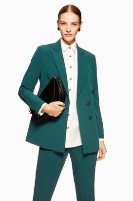 3c21787748f Topshop Womens Longline Double Breasted Blazer - Dark Green