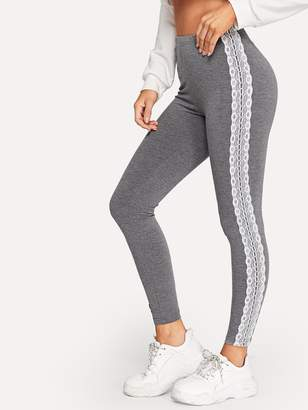 Shein Lace Applique Side Marled Leggings