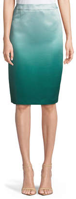 Escada Ombre Duchess Satin Pencil Skirt