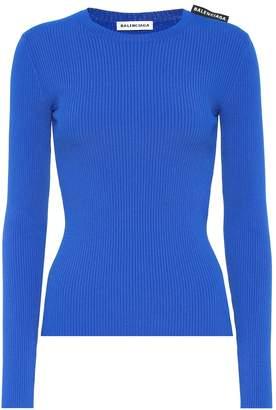 Balenciaga Ribbed-knit jersey sweater