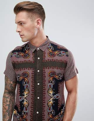 Brave Soul Short Sleeved All Over Paisely Print Shirt