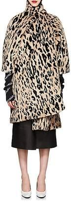 Balenciaga Women's Leopard-Print Faux-Fur Opera Coat - Black