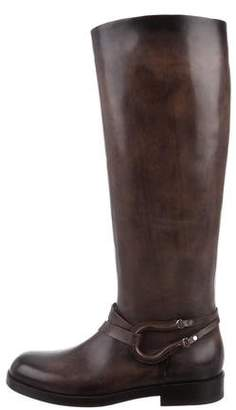 Santoni Round-Toe Leather Knee-High Boots w/ Tags