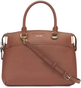 Calvin Klein Raelynn Leather Satchel