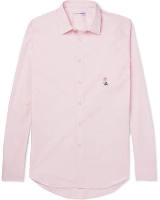 Alexander McQueen Slim-Fit Embroidered Cotton-Poplin Shirt