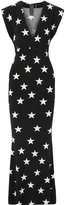 Norma Kamali Printed Stretch-jersey Maxi Dress - Black
