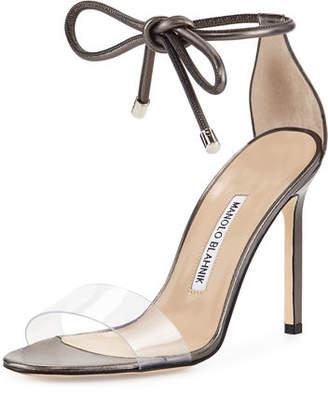 Manolo Blahnik Estro Leather & PVC Ankle-Wrap Sandal $745 thestylecure.com