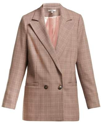 Ganni Double Breasted Stretch Twill Blazer - Womens - Pink Multi