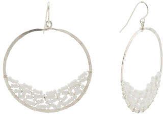 Made In Brazil Sterling Silver Beaded Hoop Earrings
