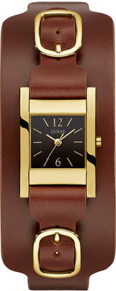 GUESS Women's Brown Leather Cuff Watch 22x24mm