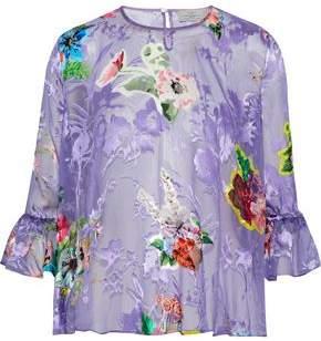 Preen by Thornton Bregazzi Botanical Floral-Print Fil Coupé Silk-Blend Blouse