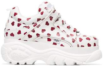 Buffalo David Bitton white and red heart print cyber platform leather sneakers