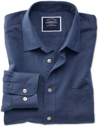 Charles Tyrwhitt Classic Fit Navy Cotton Linen Cotton Linen Mix Casual Shirt Single Cuff Size Large