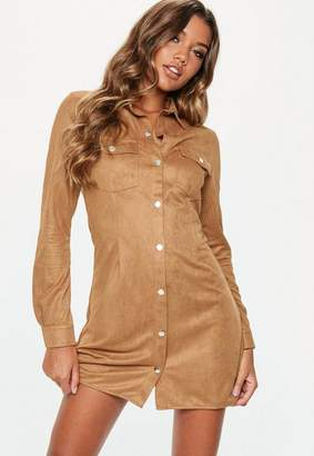 Missguided Tan Faux Suede Popper Front Skater Dress